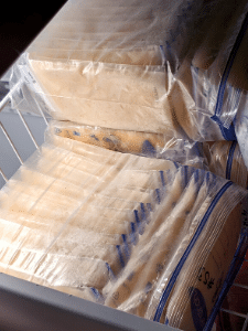 Photo: breastmilk is bagged and stored in a freezer